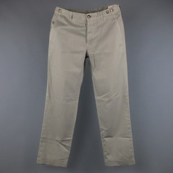 BRUNELLO CUCINELLI Size 30 Washed Moss Green Cotton Chino Pants