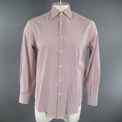 BRUNELLO CUCINELLI Size M Burgundy & White Windowpane Cotton Long Sleeve Shirt
