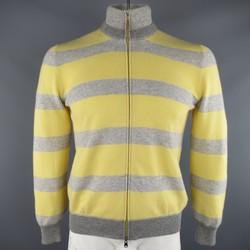 BRUNELLO CUCINELLI Size M Grey & Yellow Stripe Cashmere Zip Cardigan