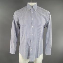 BRUNELLO CUCINELLI Size M Navy & White Striped Cotton Button Down Shirt