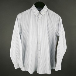 BRUNELLO CUCINELLI Size S Blue Stripe Cotton Long Sleeve Shirt