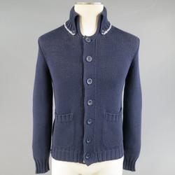 BRUNELLO CUCINELLI Size XS Navy Cotton Blend Collared Cardigan