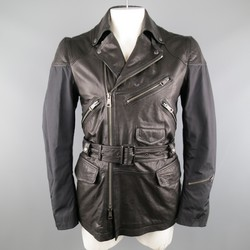 BURBERRY BRIT 40 Black Nylon & Leather Biker Style Trench Jacket