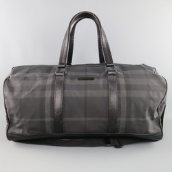 BURBERRY Black & Grey Plaid Nylon & Leather Large Duffle Bag