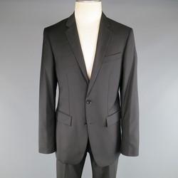 BURBERRY LONDON 40 Regular Black Solid Wool Blend 34 34 Suit