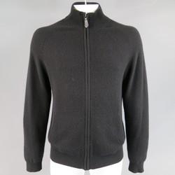 BURBERRY LONDON Size L Black Cashmere Blend Zip Up Mock Neck Cardigan