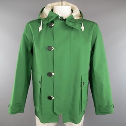 BURBERRY PRORSUM 44 Green Coated Cotton Hooded Jacket