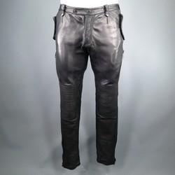 BURBERRY PRORSUM Size 31 Black Leather Biker Style Pants