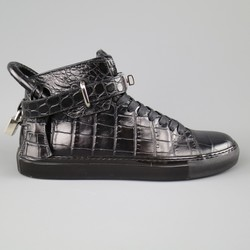 BUSCEMI Size 8 Black Aligator Embossed Leather 100mm High Top Sneakers