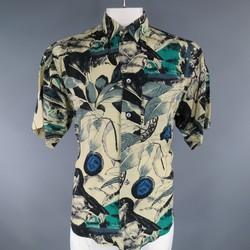 BYBLOS Size L Beige Black Green & Blue Floral Print Viscose Short Sleeve Shirt