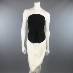 CALVIN KLEIN COLLECTION Size 6 Cream & Black Circle Pleat Sleeveless Shift Dress