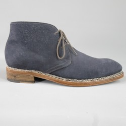 CALZOLERIA HARRIS Size 10 Navy Suede Square Toe Walking Boots
