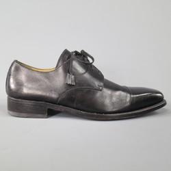 CALZOLERIA HARRIS Size 9.5 Black Leather Cap Toe Lace Up