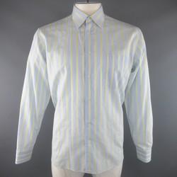 CANALI Size L Light Blue & Yellow Stripe Cotton Long Sleeve Shirt