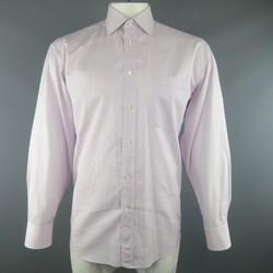 CANALI Size L Pink & Blue Stripe Cotton Long Sleeve Shirt