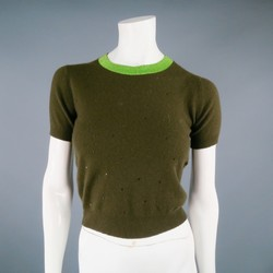 CHANEL 1996 Size 6 Olive Sequin Cashmere Cropped Sweater