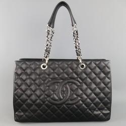 CHANEL Black Quilted Caviar Leather Silver Chain GRAND SHOPPER Tote Handbag
