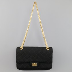 CHANEL Black Quilted Cotton Jersey Reissue 225 Gold Chain Shoulder Handbag