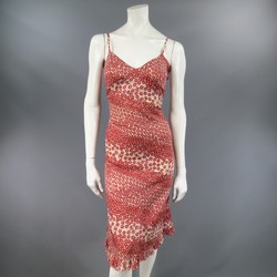 CHANEL Size 10 Red & Beige FLoral Cotton Ruffled Hem Slip Dress 2003
