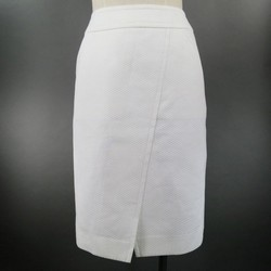 CHANEL Size 2 White Textured Cotton Button Pencil Skirt