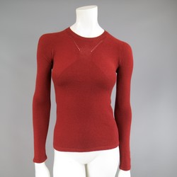 CHANEL Size 4 Brick Red Cashmere Blend Sheer Panel Logo Pullover