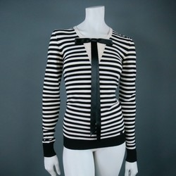 CHANEL Size 6 Black & White Viscose Blend Stripe Pullover