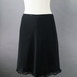 CHANEL Size 6 Black Silk A-Line Skirt