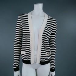 CHANEL Size 6 Cream/Black Striped Cardigan