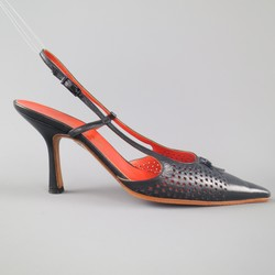 CHANEL Size 7.5 Navy Perforated Leather Slingback Pumps