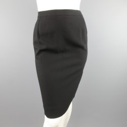 CHANEL Size 8 Black Wool Pencil Skirt