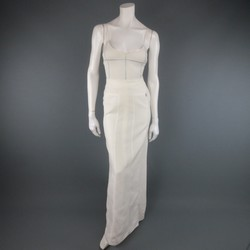 CHANEL Size 8 Cream Ramie Metallic Trim Camisole Maxi Skirt Set 1999