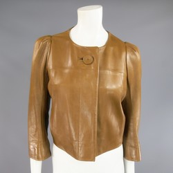 CHLOE Size 10 Cropped Tan Leather PLeated Back Jacket