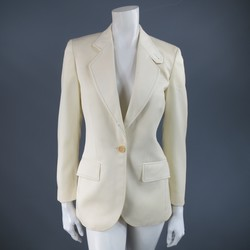 CHLOE Size 4 Cream Wool Black Contrast Stitch Sport Coat Riding Jacket
