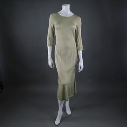CHLOE Size M Pistachio Woven Silk Scoop Neck 3/4 Sleeve Dress