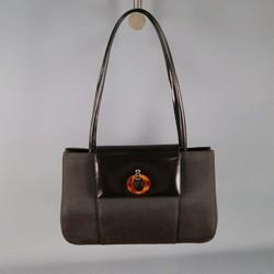 CHRISTIAN DIOR Brown Nylon Top Handles Handbag