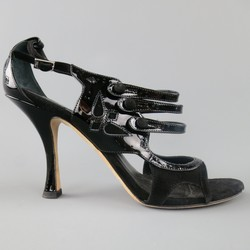 CHRISTIAN DIOR Size 11 Black Patent Leather Mary Jane Sandals