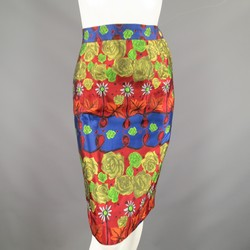 CHRISTIAN LACROIX  Size 6 Red Gold Navy & Green Rose Floral Print Pencil Skirt