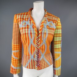 CHRISTIAN LACROIX Size 6 Orange & Yellow Plaid Hook Eye  Jacket