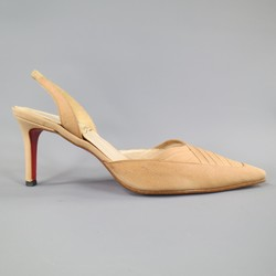 CHRISTIAN LOUBOUTIN Size 6.5 Tan Beige Ruched  Fabric Slingback Pumps