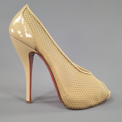 CHRISTIAN LOUBOUTIN Size 7 Beige Mesh Patent Leather Peep Toe Fetilo Pumps