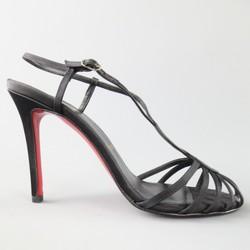 CHRISTIAN LOUBOUTIN Size 8.5 Black Silk 'Cleo Sceptre' Strappy Sandals