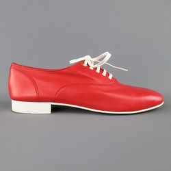 CHRISTIAN LOUBOUTIN Size 9 Red & White Leather ALFRED FLAT Lace Up