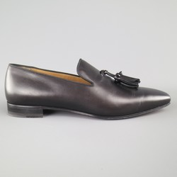 CHRISTIAN LOUBOUTIN Size 9.5 Black Solid Leather DADA FLAT Spike Tassel Loafers