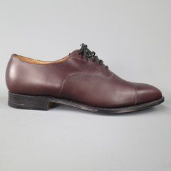 CHURCH'S Size 10 Burgundy Leather Cap Toe Lace Up Dress Shoes
