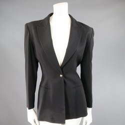 CLAUDE MONTANA Size 4 Black Wool Peak Lapel Silver Back Chain Jacket