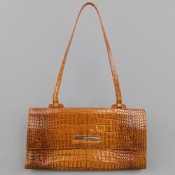 COLE HAAN Tan Embossed Leather Shoulder Bag