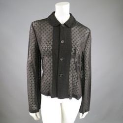 COMME des GARCONS  Black Perforated Lace Peter Pan Collar Jacket