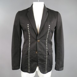 COMME des GARCONS 40 Black Cotton Reverible Studded Sport Coat Jacket