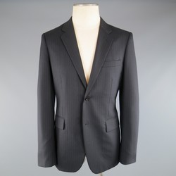COMME des GARCONS 40 Black Pintripe Wool Notch Lapel Sport Coat