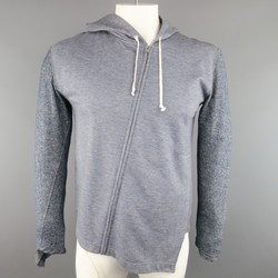 COMME des GARCONS 40 Blue & Grey Mixed Fabric Asymmetrical Hoodie